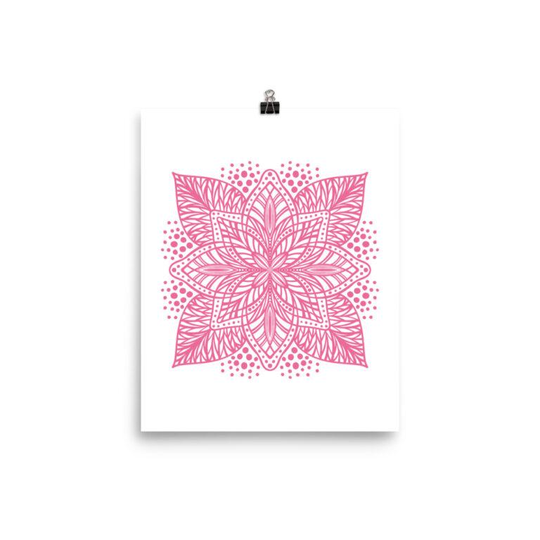 pink flower mandala art print