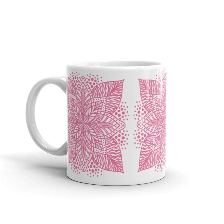 pink flower mandala mug