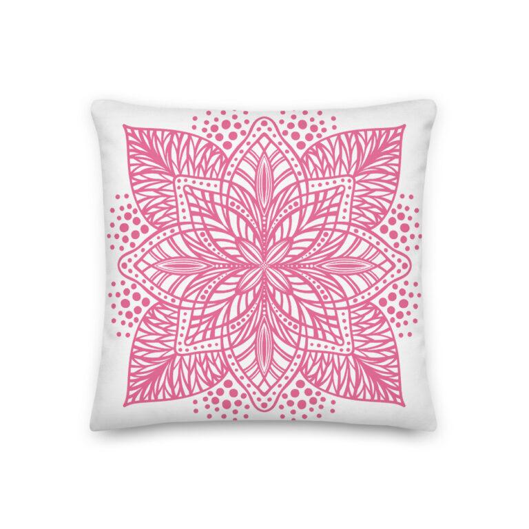 pink flower mandala pillow