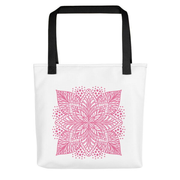 pink flower mandala tote bag