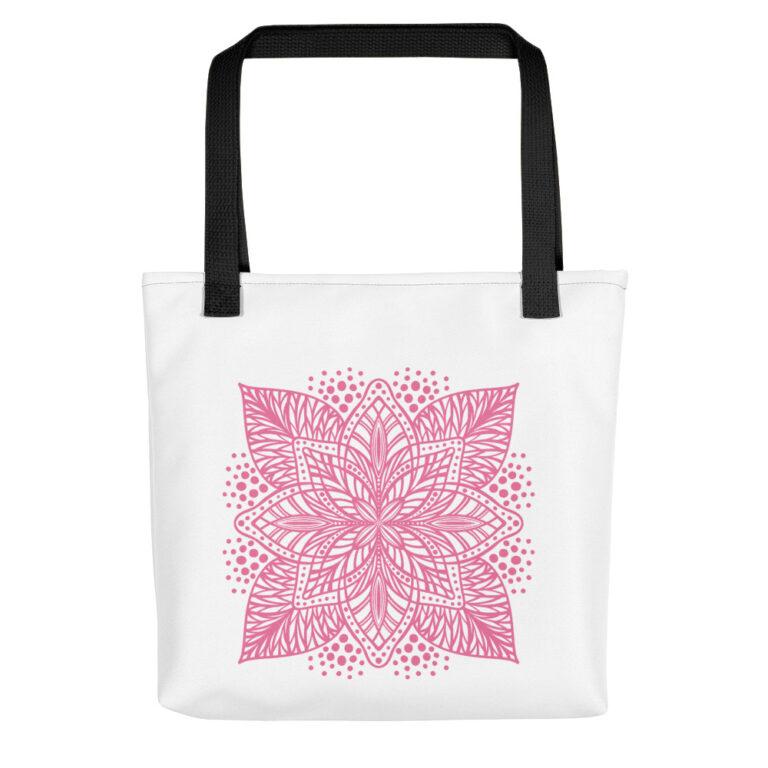 pink flower mandala tote bag