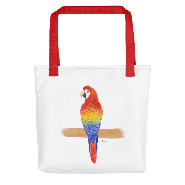 scarlet macaw tote bag