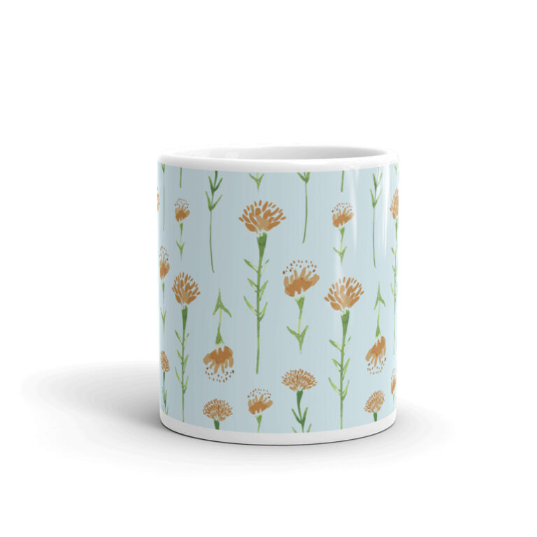 watercolor marigold mug in blue