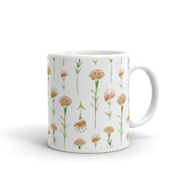 watercolor marigold mug in white