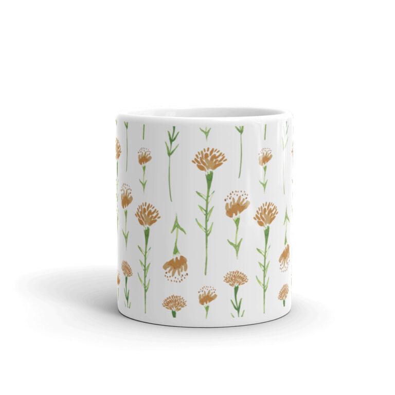 watercolor marigold mug in white