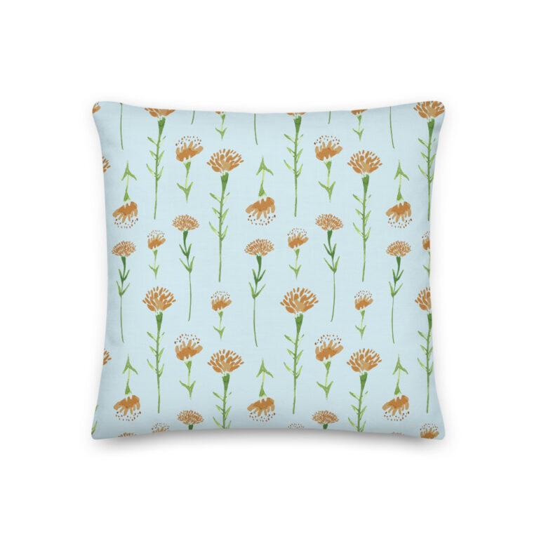 watercolor marigold pillow