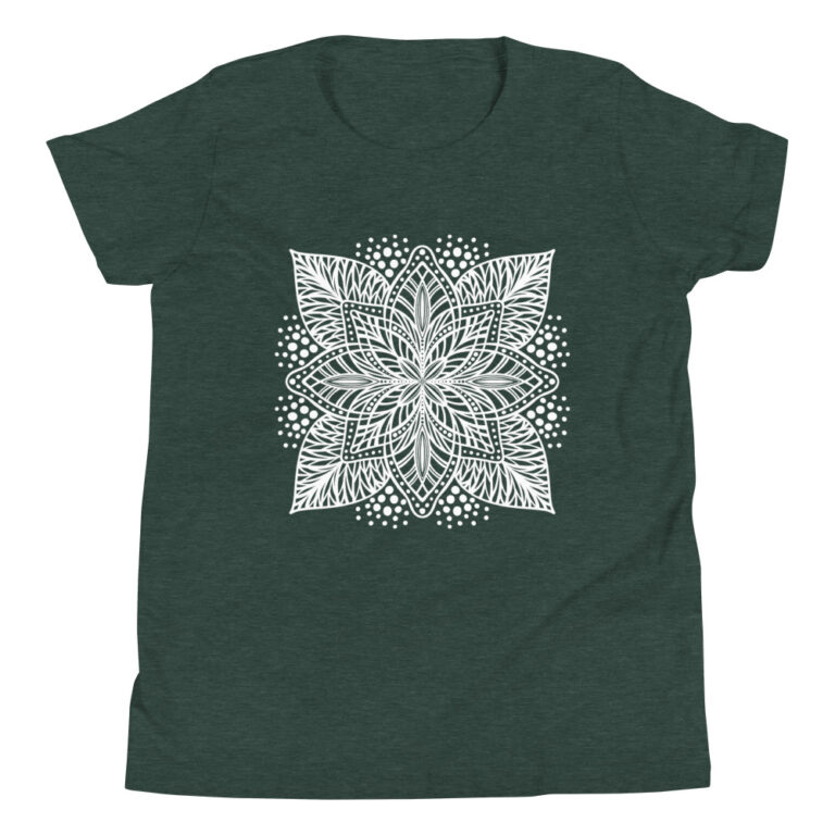 white flower mandala on green