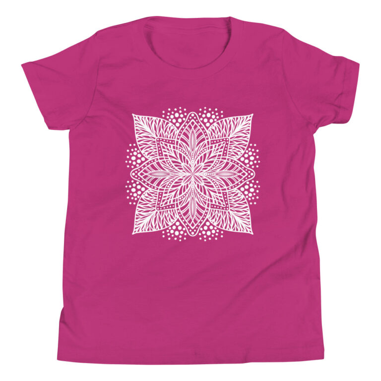 white flower mandala on pink