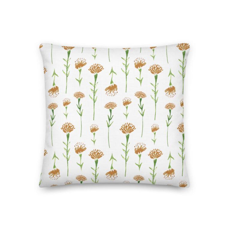 white marigold pillow watercolor
