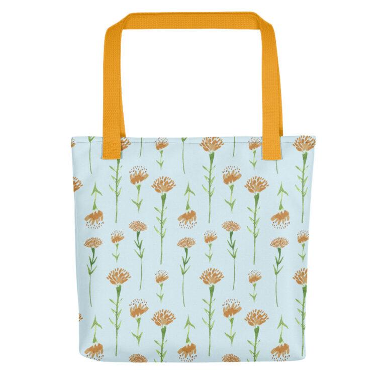 watercolor marigold tote bag yellow handle