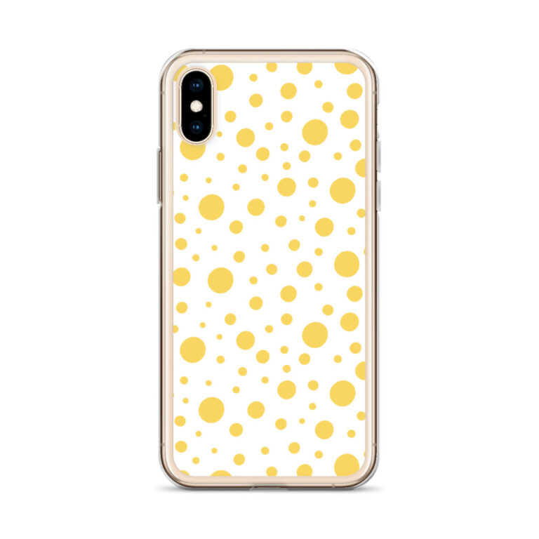 This sleek Lemon Dots iPhone Case protects your phone from scratches, dust, oil, and dirt. It has a solid back and flexible sides that make it easy to take on and off, with precisely aligned port openings. #dotpattern #dotphonecase #dotsiphonecase #dotdesign
