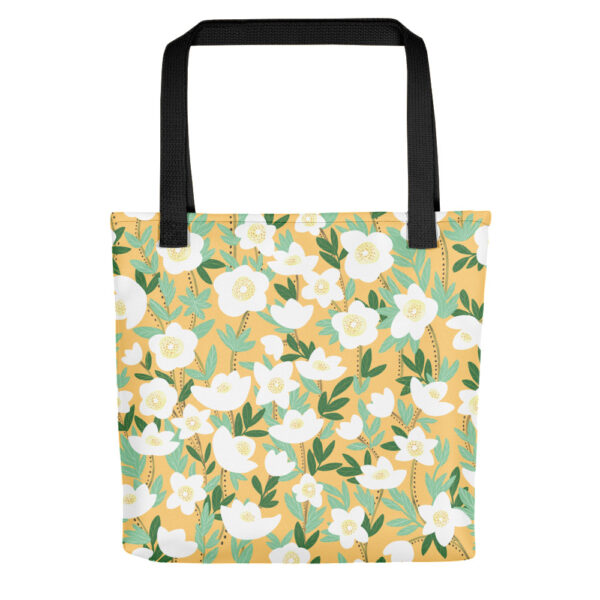 This playful hand-drawn illustration is featured on a functional tote bag that you can take anywhere you go. Get your own Lemonade Orange Wildflowers Tote Bag to hold all of your must-haves! #totebag #wildflowertotebag #flowerbag #handdrawnflowers