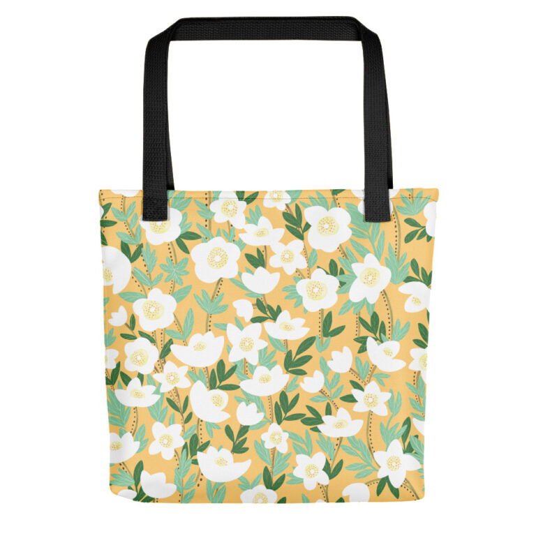 This playful hand-drawn illustration is featured on a functional tote bag that you can take anywhere you go. Get your own Lemonade Orange Wildflowers Tote Bagto hold all of your must-haves! #totebag #wildflowertotebag #flowerbag #handdrawnflowers