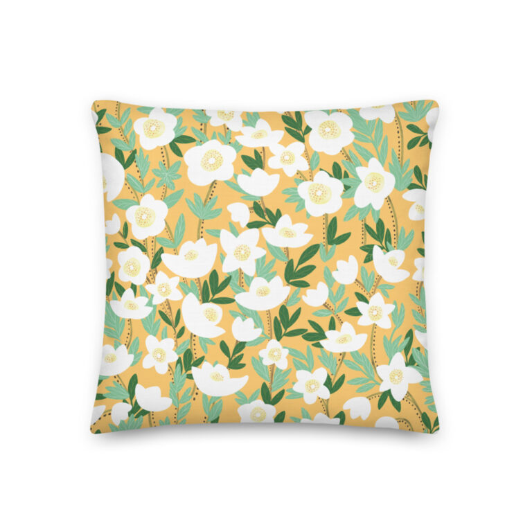 Want to add a splash of color to your home? This Lemonade Orange Wildflowers Pillow with a shape-retaining insert is just what you're looking for! #pillows #flowerpillow #wildflowerdesign #summerdecor