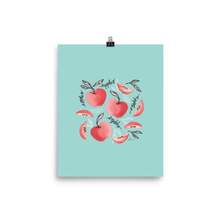 Red Apples Art Print in Seafoam