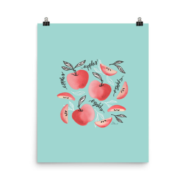 Red Apples Art Print in Seafoam
