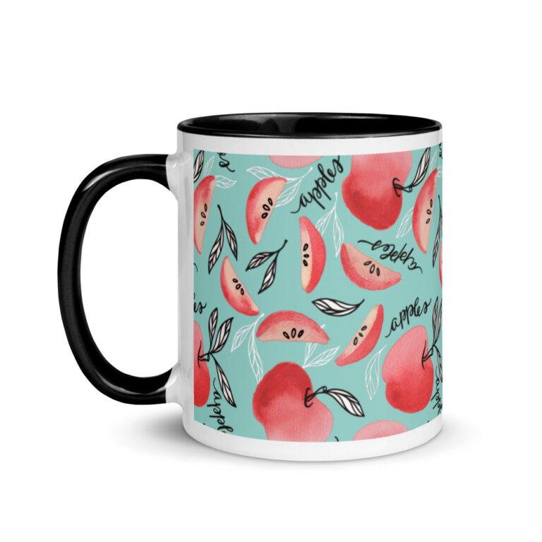 Red Apples Mug Seafoam