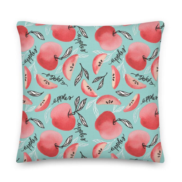 Red Apples Pillow Seafoam