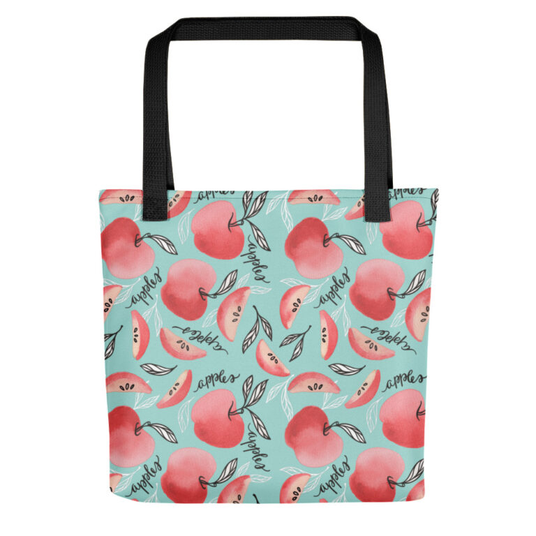 Red Apples Tote Bag Seafoam