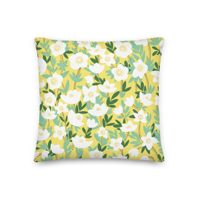 Want to add a splash of color to your home? This Lemonade Yellow Wildflowers Pillow with a shape-retaining insert is just what you're looking for! #pillows #flowerpillow #wildflowerdesign #summerdecor