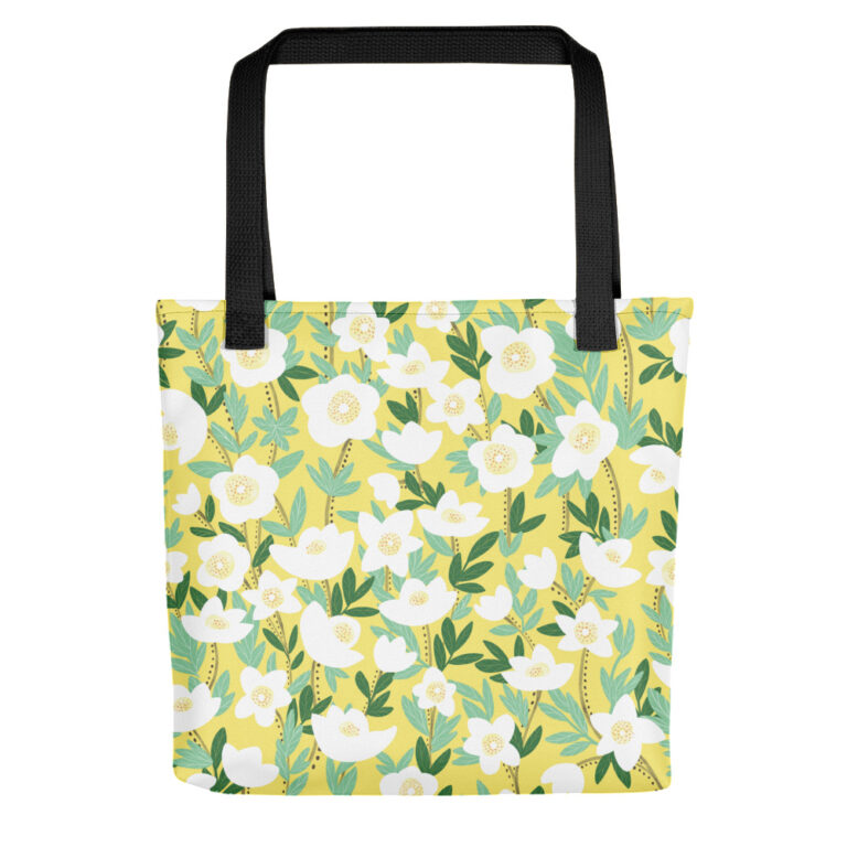 This playful hand-drawn illustration is featured on a functional tote bag that you can take anywhere you go. Get your own Lemonade Yellow Wildflowers Tote Bag to hold all of your must-haves! #totebag #wildflowertotebag #flowerbag #handdrawnflowers