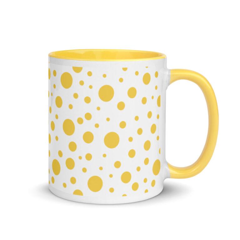 Whether you're drinking your morning coffee, evening tea, or something in between – this Lemon Dots Mug's for you! #dots #dotmug #yellowdotmug #dotdesign #yellowcoffeecup