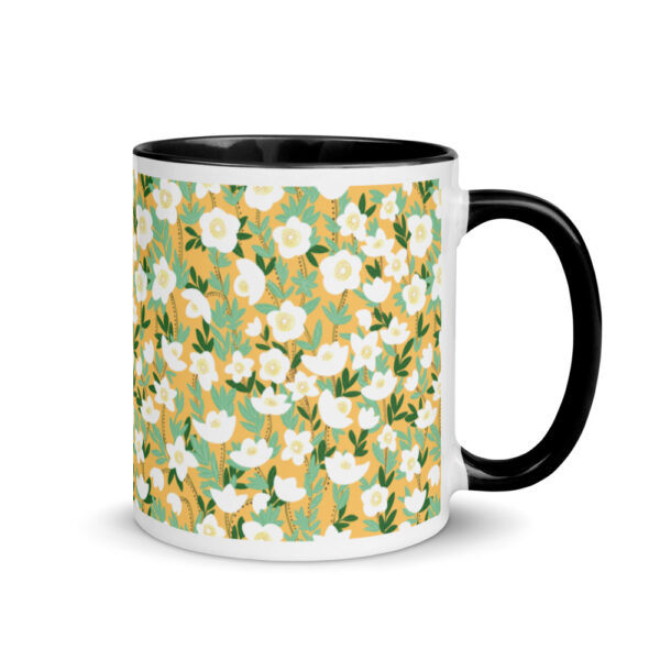 Whether you're drinking your morning coffee, evening tea, or something in between – this Lemonade Orange Wildflowers Mug's for you! #wildlfowermug #orangewildflower #wildflowercoffeemug #wildflowerdesign