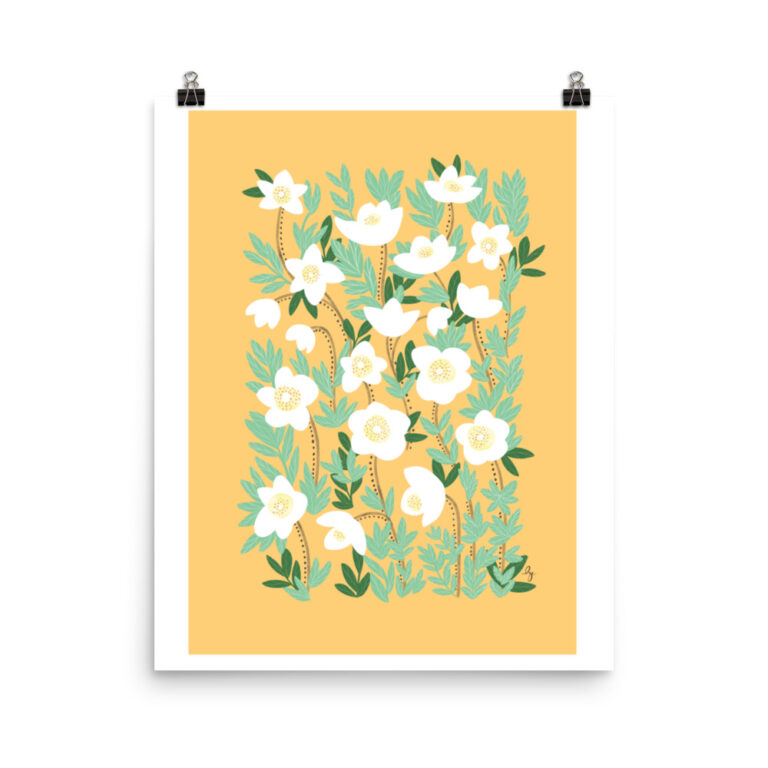 Add a gorgeous accent to any room in your home with this Lemonade Orange Wildflowers Art Print that is sure to brighten any environment. #flowerartprint #wildflowerartprint #flowerposter #orangeflowerartprint