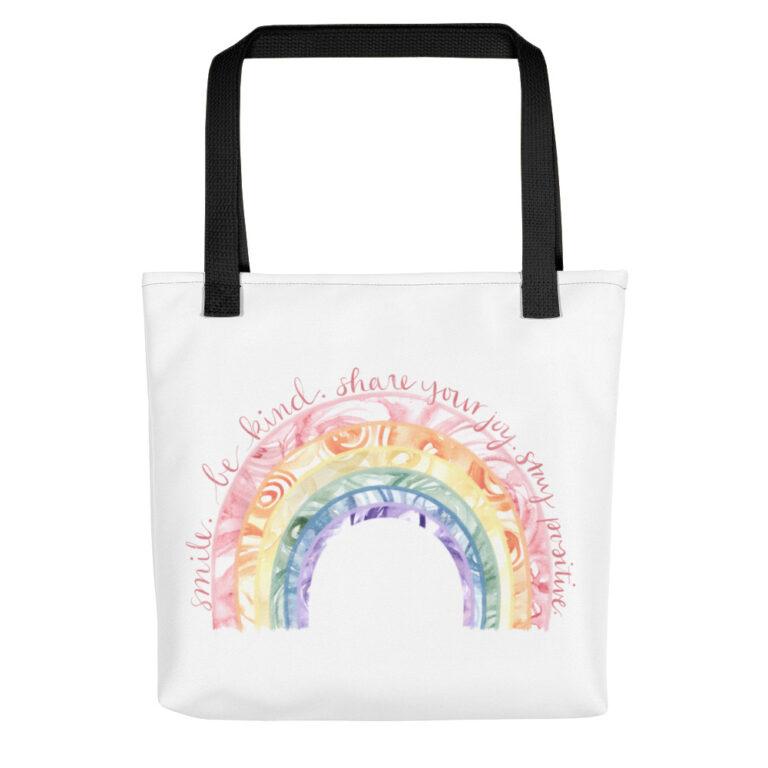 Watercolor Rainbow Tote Bag black handle