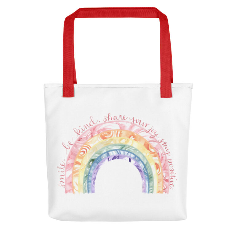 Watercolor Rainbow Tote Bag red handle