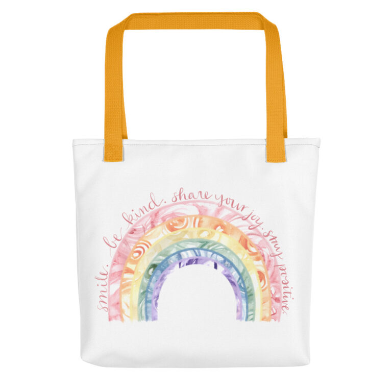 Watercolor Rainbow Tote Bag yellow handle