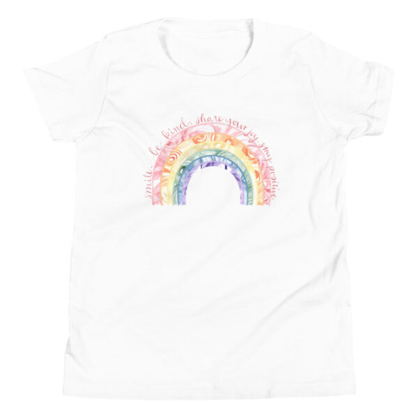 watercolor rainbow womens t-shirt white