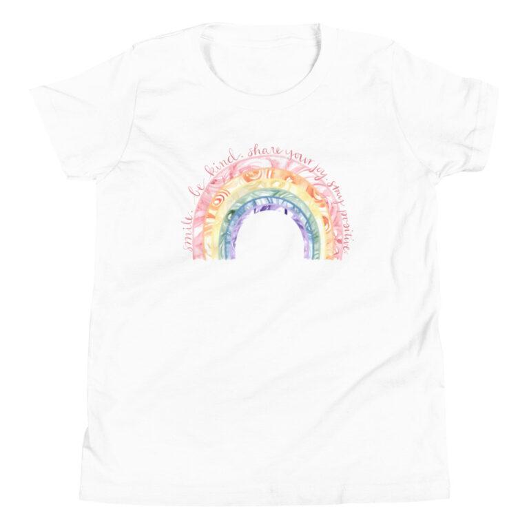 watercolor rainbow womens t-shirt white