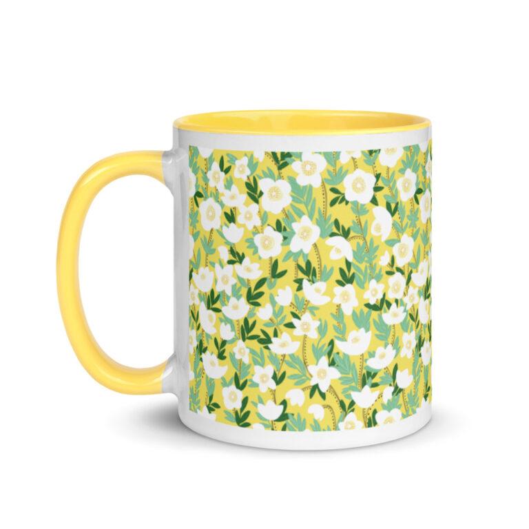 Whether you're drinking your morning coffee, evening tea, or something in between – this Lemonade Yellow Wildflowers Mug'sfor you! #wildlfowermug #orangewildflower #wildflowercoffeemug #wildflowerdesign