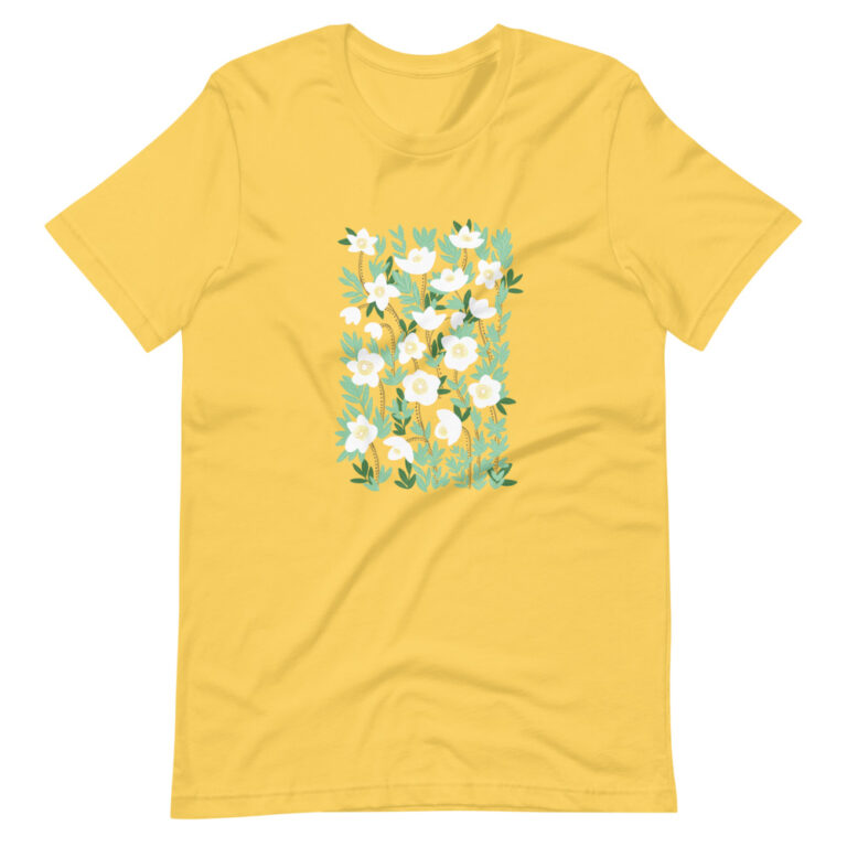 This Lemonade White Wildflowers Women's T-Shirt is both dreamy and super soft and lightweight. Not only is it comfortable, but also flattering in a variety of colors! #yellow #flowertshirt #wildflowershirt #yellowflowershirt #wildflowerdesign