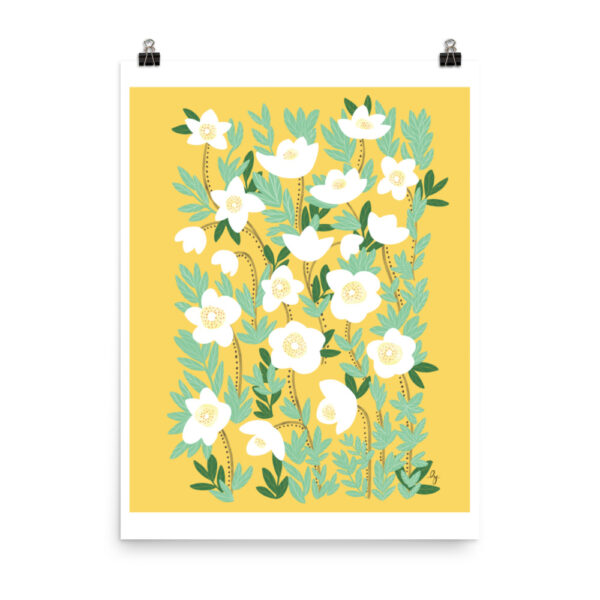 Add a gorgeous accent to any room in your home with this LemonaYellow Wildflowers Art Print that is sure to brighten any environment. #flowerartprint #wildflowerartprint #flowerposter #yellowflowerartprint