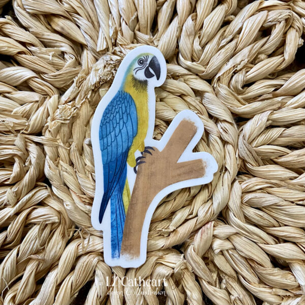gold parrot sticker