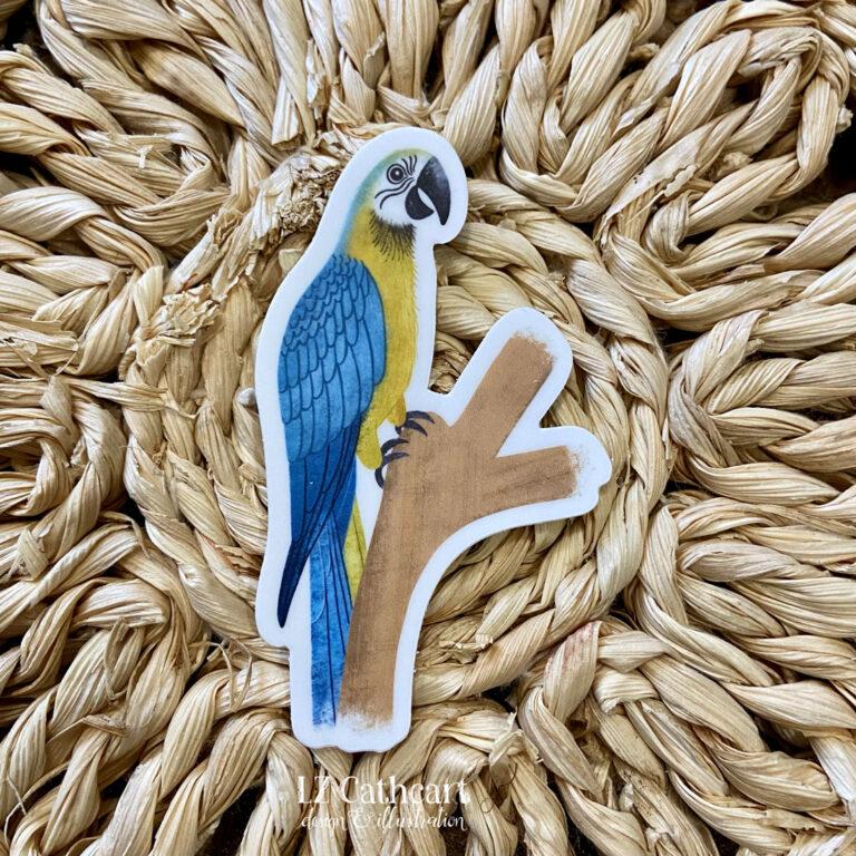 gold parrot sticker
