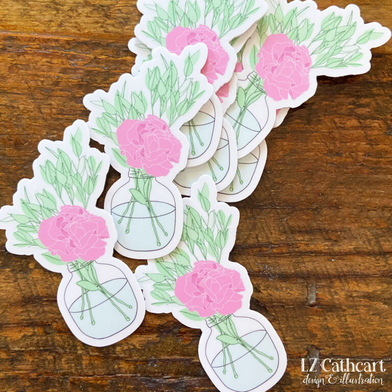 carnation vase sticker
