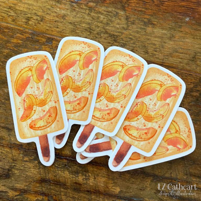 peach popsicle sticker