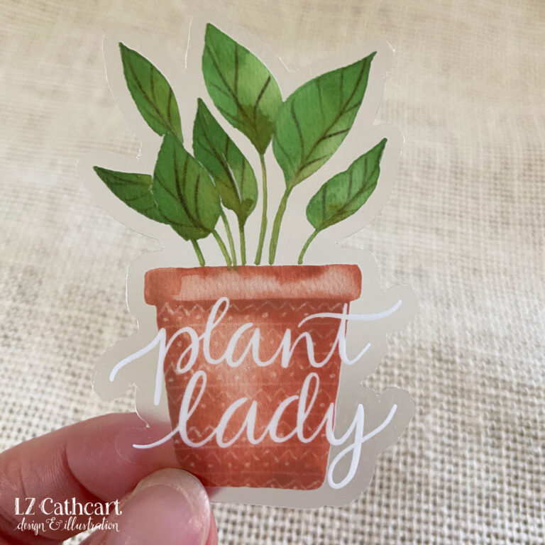 plant lady sticker burlap