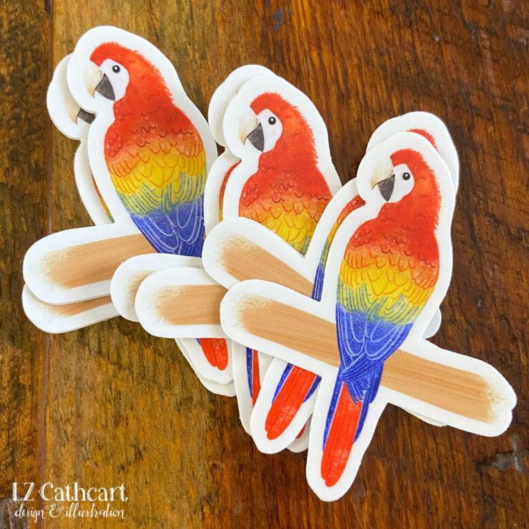 red macaw sticker