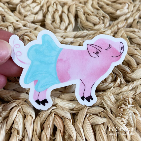 ballerina pig sticker