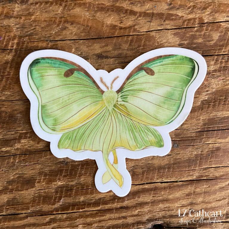 green moth vinyl sticker