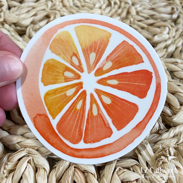 watercolor orange sticker