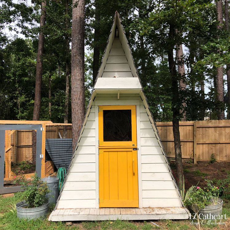 Looking for whimsical ideas for your backyard chicken coop? Let me take you on a tour of my own quirky and inspirational coop. #diycoop #chickencoop #prettychickencoop #backyardchickencoop