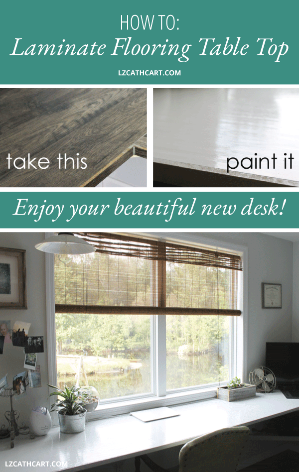 Learn how to create your own laminate flooring table top with just a few simple steps. You won't believe how easy it is plus it'll save you a fortune! #diydesk #laminateflooringtabletop #diydeskideas