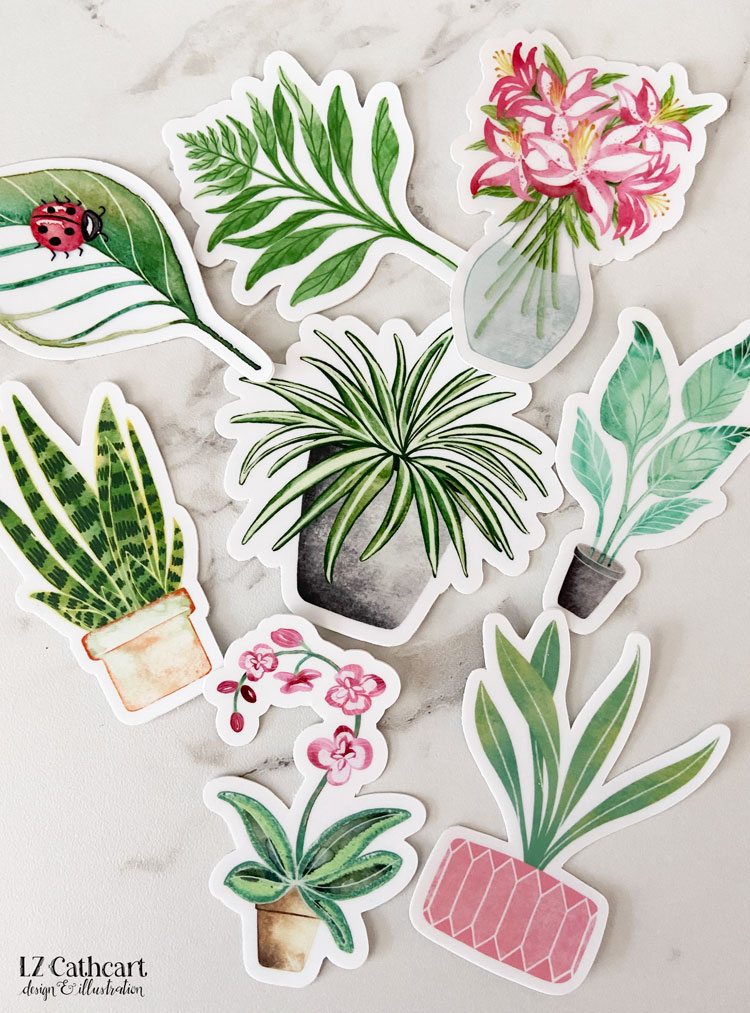 Attention all plant ladies! Never leave the house again without your plants. Enhance your favorite things with these plant stickers! #plantstickers #stickers #stickerdesigns