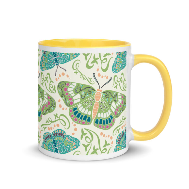 green butterfly mug