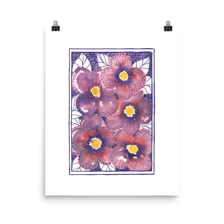 purple cosmos art print